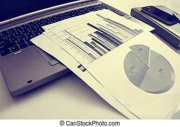 statisztika, marketing, concept., kereskedelmi, hirdetés, digitális, javuló, előléptetés