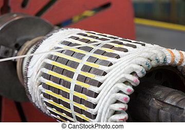 Stator of a big electric motor. repair factory
