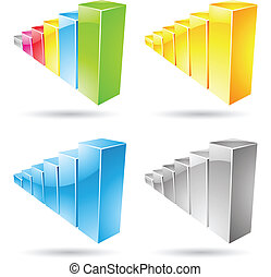 Stats Bars Icons - Vector illustration of colorful stat bar ...
