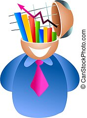 stats brain - business man with sales reports  on his mind