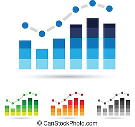 Stats Icons - Vector illustration of colorful stats icons
