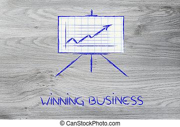 stats, pokój, dodatni, whiteboard, stać, wykres, spotkanie