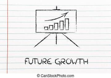 stats, salle, positif, whiteboard, stand, graphique, réunion