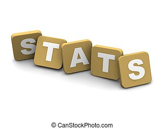 Stats text. 3d rendered illustration isolated on white.