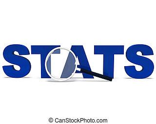 stats, woord, optredens, statistiek, rapport, rapporten, of, analyse