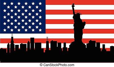 statua, amerykanka, swoboda