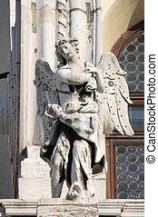 statua, angelo, santa, cattedrale, della, saluto, maria