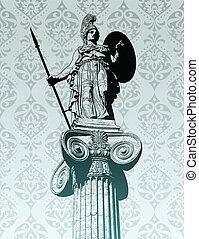 statua, athena