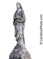 statua, biały, odizolowany, anioł
