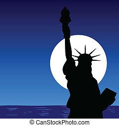 statua, chiudere, illustra, su, libertà
