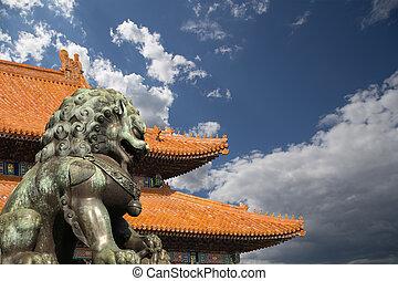 statua, città, tutore, proibito, leone, porcellana, beijing,...