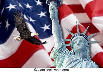 statua, città, york, libertà, nuovo