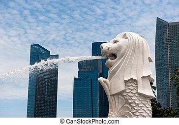 statua merlion, punto di riferimento, di, singapore