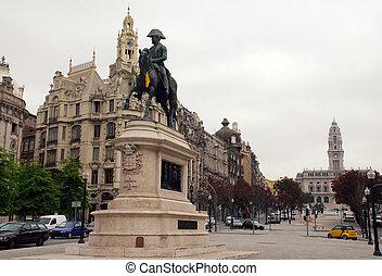 statua, od, król, dom, pedro, vi, porto, portugal.