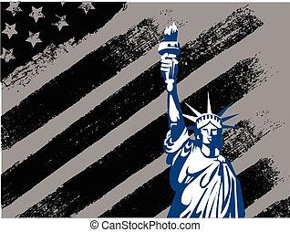statua, projektować, amerykanka, czarnoskóry