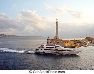 statua, sicilia, italia, messina, entrata, calabria, fondo, porto, linea costiera, madonna