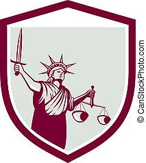 statue, épée, balances, justice, liberté, tenue, bouclier