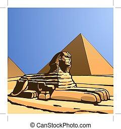 statue., ベクトル, 古代, sphinx.