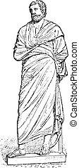 statue, (after, musée), pallium, engraving., vendange