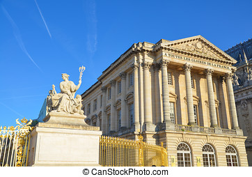 Statue and Palace facade Versailles - Statue and facade with...