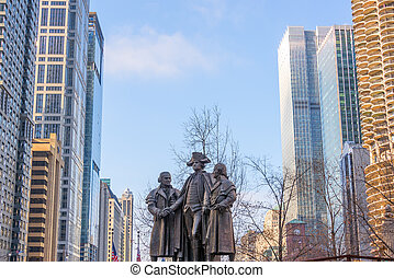 Statue and Skyscrapers