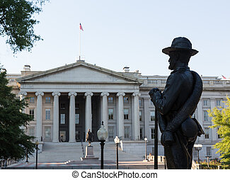 Statue and Treasury Building Washington DC