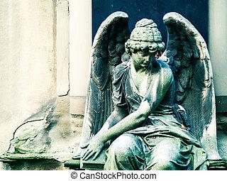 statue ange, sur, cimetière, dans, europe