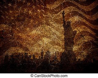 statue, arrière-plan., silhouette, liberté, porté
