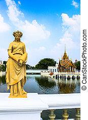 Statue at Bang Pa-In Palace, Thailand (Summer Palace of the...