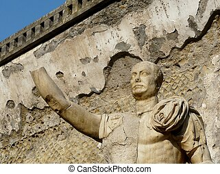 Statue at the ancient Roman city of Herculaneum, Italy