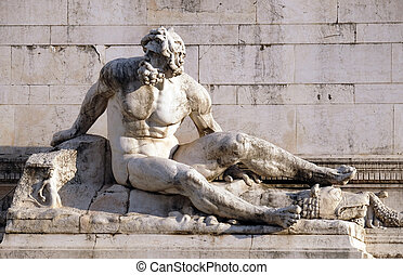 Statue at the fountain that represents the Tyrrhenian Sea, Altare della Patria, Rome, Italy