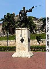 Statue before the Castle of Cartagena
