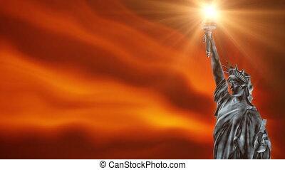 statue, boucle, liberté