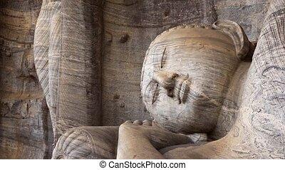 statue, bouddha, lanka, reposer, sri, viharaya, ancien, ...