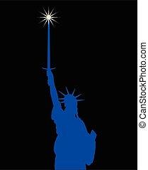 statue, broadsword, liberté, tenue