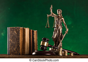 statue, brun, justice., marteau
