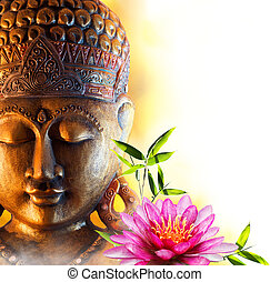 Statue buddha zen with water lily
