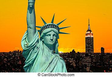 statue, byen, york, frihed, nye