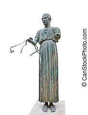 Statue Charioteer in Delphi museum, Greece - isolated on ...