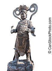 statue China in Wat Phananchoeng thailand isolated on white back