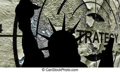 statue, concept, cassé, stratégie, liberté, contre