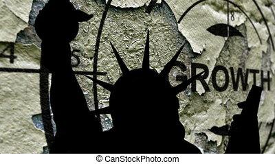 statue, contre, croissance, fond, liberté