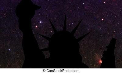 statue, contre, liberté, étoiles, nuit