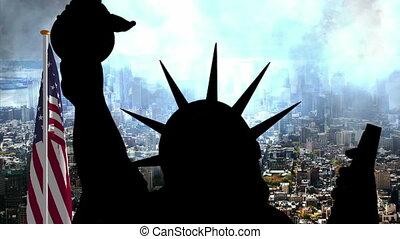 statue, contre, usa, york, nouveau, liberté, drapeau
