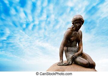 statue, copenhage, sirène, peu