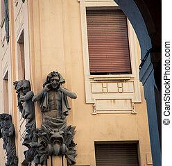 statue corner of building