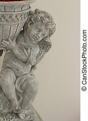 statue, cupidon, jardin, flower.