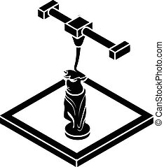 Statue d printing icon, simple style