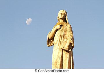 statue, dans, les, cimetière, de, recoleta, à, lune, dans, les, fond, buenos aires, argentina.