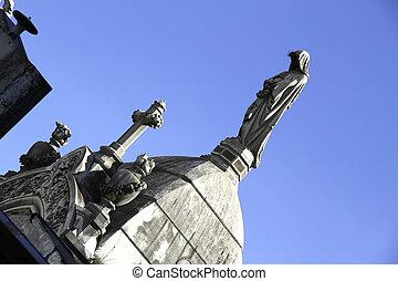 statue, dans, les, cimetière, de, recoleta